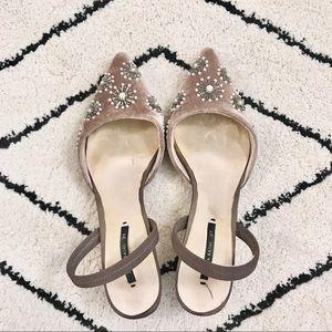 ZARA mauve velvet sling back kitten heels | 37